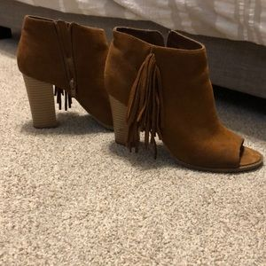 Ankle fringe booties